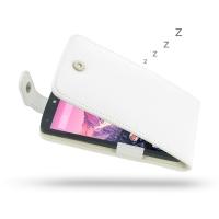Nexus 5 Leather Flip Top Case (White) PDair Premium Hadmade Genuine Leather Protective Case Sleeve Wallet