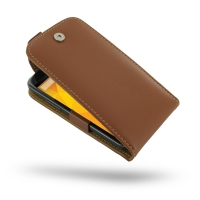 Nexus 4 Leather Flip Top Case (Brown) PDair Premium Hadmade Genuine Leather Protective Case Sleeve Wallet