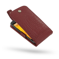 Nexus 4 Leather Flip Top Case (Red Croc Pattern) PDair Premium Hadmade Genuine Leather Protective Case Sleeve Wallet