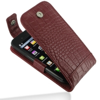 LG Optimus SOL Leather Flip Top Case (Red Croc Pattern) PDair Premium Hadmade Genuine Leather Protective Case Sleeve Wallet