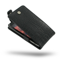 Leather Flip Top Case for Motorola Droid Razr Maxx HD (Black Crocodile Pattern)
