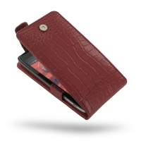 Leather Flip Top Case for Motorola Droid Razr Maxx HD (Red Crocodile Pattern)
