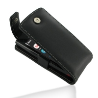 Nokia 500 Leather Flip Top Case (Black) PDair Premium Hadmade Genuine Leather Protective Case Sleeve Wallet