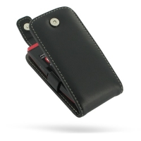Leather Flip Top Case for Nokia Asha 305 306 (Black)