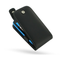 Nokia Lumia 610 Leather Flip Top Case (Black) PDair Premium Hadmade Genuine Leather Protective Case Sleeve Wallet