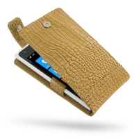 Nokia Lumia 900 Leather Flip Top Case (Brown Croc Pattern) PDair Premium Hadmade Genuine Leather Protective Case Sleeve Wallet
