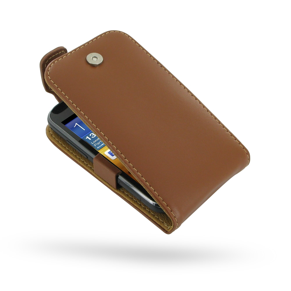Samsung Galaxy Ace 2 Leather Flip Top Case Brown