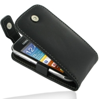 Leather Flip Top Case for Samsung Galaxy mini 2 GT-S6500 (Black)