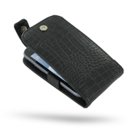 Leather Flip Top Case for Samsung Galaxy S Duos GT-S7562 (Black Crocodile Pattern)