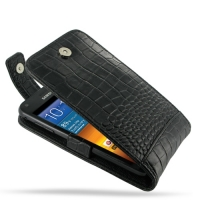 Leather Flip Top Case for Samsung Galaxy S II Epic 4G Touch SPH-D710 (Black Crocodile Pattern)