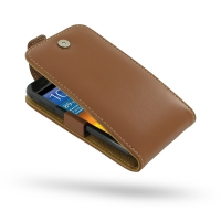 Leather Flip Top Case for Samsung Galaxy S II Epic 4G Touch SPH-D710 (Brown)
