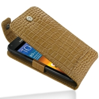 Leather Flip Top Case for Samsung Galaxy S II Epic 4G Touch SPH-D710 (Brown Crocodile Pattern)