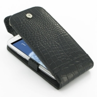 Leather Flip Top Case for Samsung Galaxy S III S3 GT-i9300 (Black Crocodile Pattern)