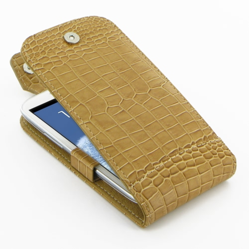 10% OFF + FREE SHIPPING, Buy Best PDair Quality Handmade Protective Samsung Galaxy S3 Leather Flip Top Case (Brown Croc Pattern). Pouch Sleeve Holster Wallet You also can go to the customizer to create your own stylish leather case if looking for addition