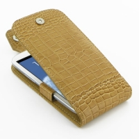 Leather Flip Top Case for Samsung Galaxy S III S3 GT-i9300 (Brown Crocodile Pattern)