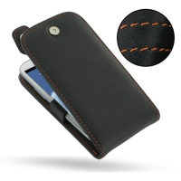 Leather Flip Top Case for Samsung Galaxy S III S3 GT-i9300 (Orange Stitch)