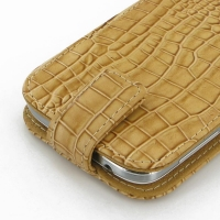 Leather Flip Top Case for Samsung Galaxy S4 SIV LTE GT-i9500 GT-i9505 (Brown Crocodile Pattern)