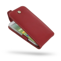 Leather Flip Top Case for Samsung Galaxy S4 SIV LTE GT-i9500 GT-i9505 (Red)