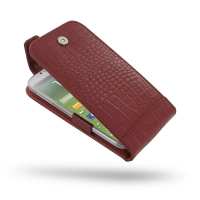 Leather Flip Top Case for Samsung Galaxy S4 SIV LTE GT-i9500 GT-i9505 (Red Crocodile Pattern)