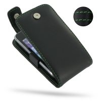 Leather Flip Top Case for Samsung Wave Y GT-S5380 (Green Stitch)
