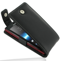 Leather Flip Top Case for Sony Xperia Sola MT27i (Black)