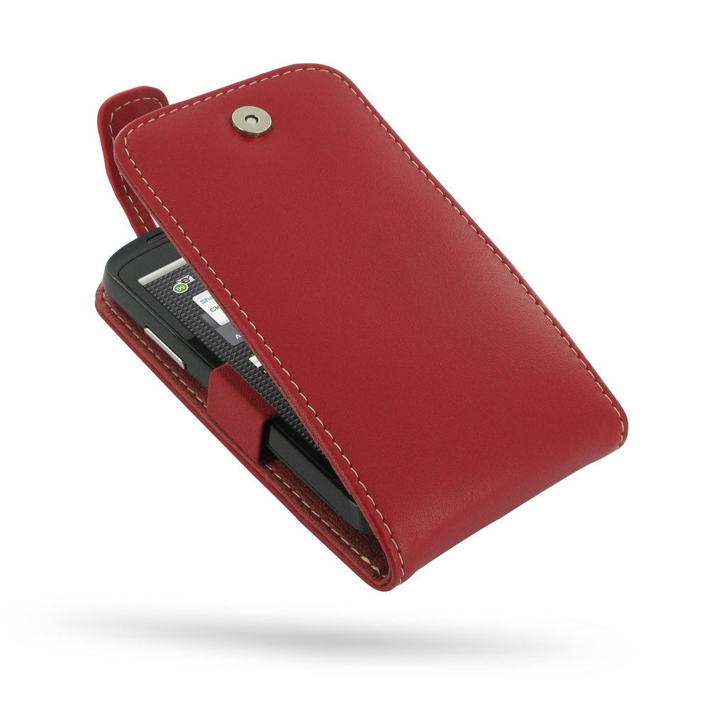 ZTE Skate Leather Flip Top Case (Red) PDair Premium Hadmade Genuine Leather Protective Case Sleeve Wallet