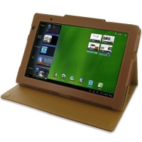 Acer Iconia Tab A500 Leather Folio Stand Case (Brown) PDair Premium Hadmade Genuine Leather Protective Case Sleeve Wallet