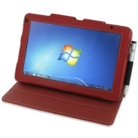 HP Slate 500 Tablet PC Leather Folio Stand Case (Red) PDair Premium Hadmade Genuine Leather Protective Case Sleeve Wallet