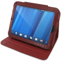 HP TouchPad Leather Folio Stand Case (Red Croc Pattern) PDair Premium Hadmade Genuine Leather Protective Case Sleeve Wallet