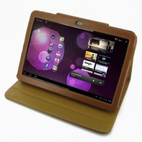 Samsung Galaxy Tab 10.1v Leather Folio Stand Case (Brown) PDair Premium Hadmade Genuine Leather Protective Case Sleeve Wallet