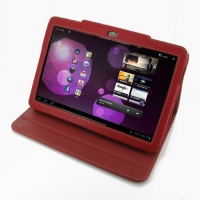Samsung Galaxy Tab 10.1v Leather Folio Stand Case (Red) PDair Premium Hadmade Genuine Leather Protective Case Sleeve Wallet
