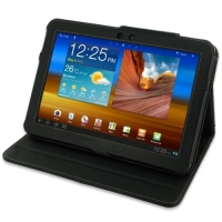 Samsung Galaxy Tab 8.9 Leather Folio Stand Case (Black) PDair Premium Hadmade Genuine Leather Protective Case Sleeve Wallet