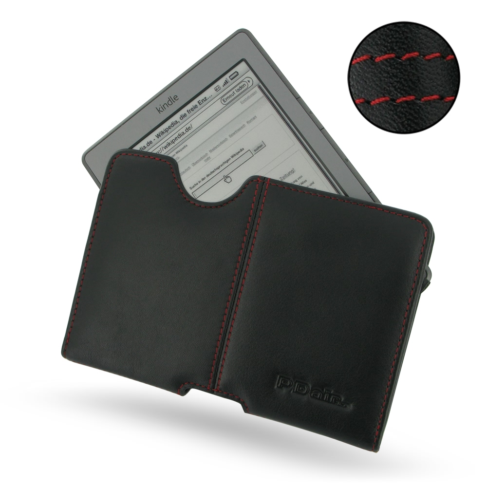 Amazon Kindle 4 Leather Pouch Case Ver 2 (Red Stitch