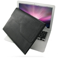 Leather Horizontal Pouch Case for Apple MacBook Air 11 (Black Croc Pattern)