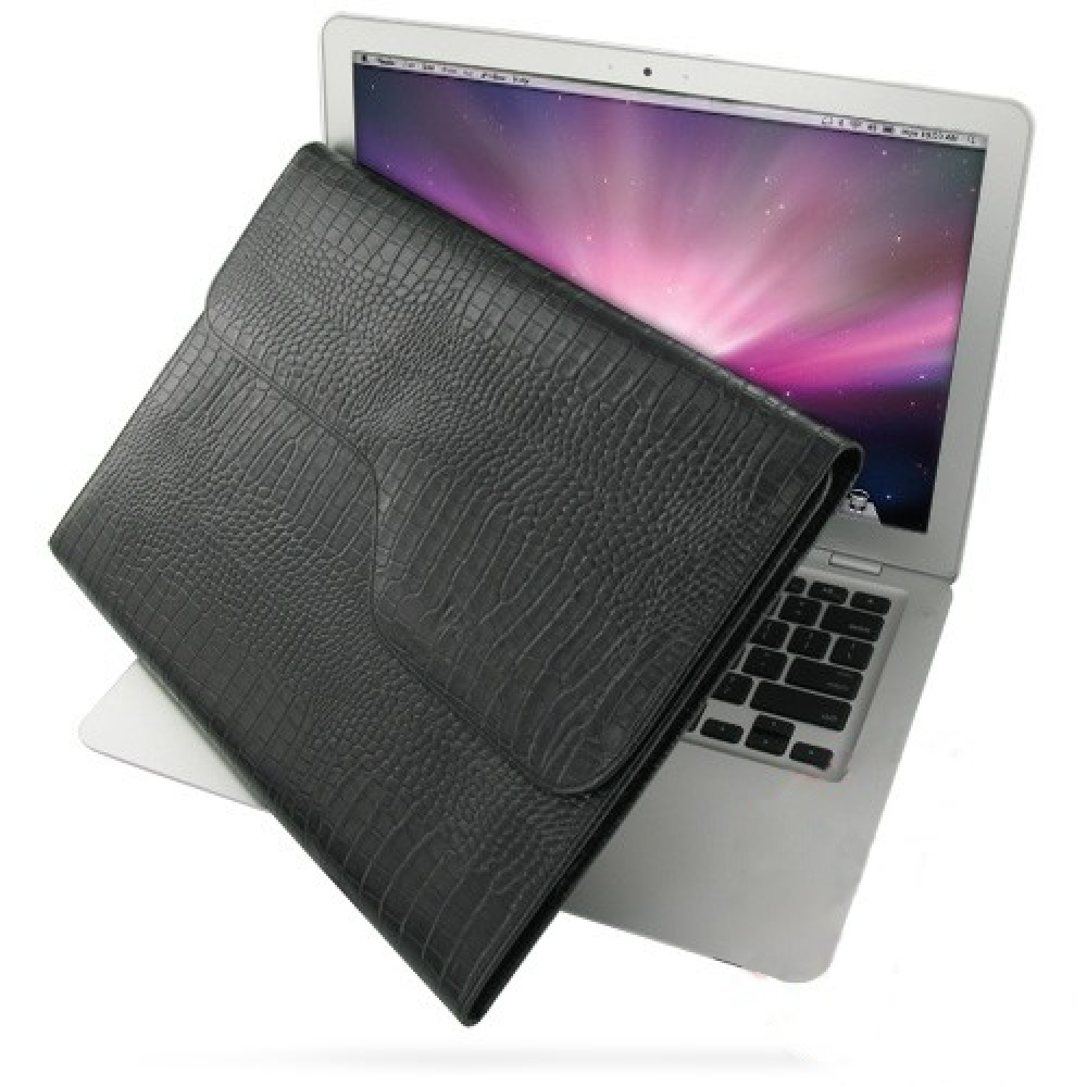 macbook air 2008 13 3 leather sleeve pouch black croc. Black Bedroom Furniture Sets. Home Design Ideas