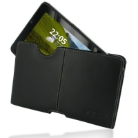 Fujitsu STYLISTIC MH350 Leather Pouch Case Ver.2 (Black) PDair Premium Hadmade Genuine Leather Protective Case Sleeve Wallet