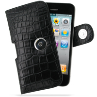 Leather Horizontal Pouch Case with Belt Clip for Apple iPhone 4 | iPhone 4s (Black Crocodile Pattern)
