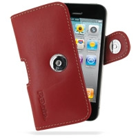 Leather Horizontal Pouch Case with Belt Clip for Apple iPhone 4 | iPhone 4s (Red)