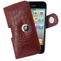 Leather Horizontal Pouch Case with Belt Clip for Apple iPhone 4 | iPhone 4s (Red Crocodile Pattern)