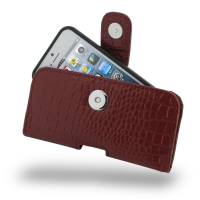 Leather Horizontal Pouch Case with Belt Clip for Apple iPhone 5 | iPhone 5s ( Compatible with 1.0 mm Slim Case / Cover on ) (Red Crocodile Pattern)