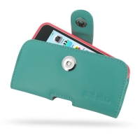 Leather Horizontal Pouch Case with Belt Clip for Apple iPhone 5c ( Compatible with 1.0 mm Slim Case / Cover on ) (Aqua)