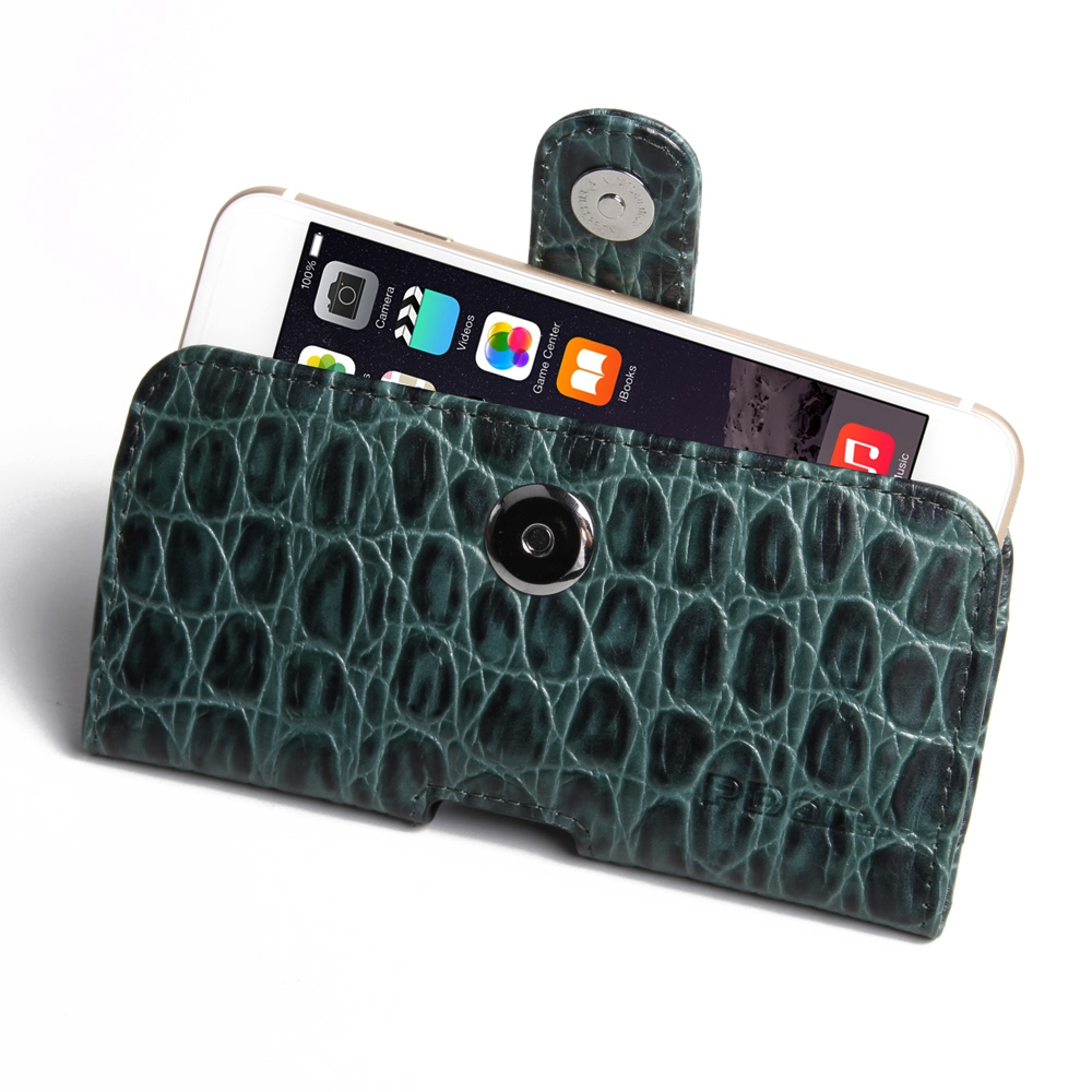 iPhone 6 6s Leather Holster Case (Green Croc Pattern) PDair Premium Hadmade Genuine Leather Protective Case Sleeve Wallet