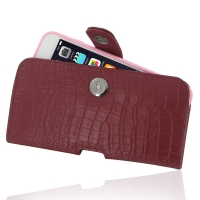 Leather Horizontal Pouch Case with Belt Clip for Apple iPhone 6 Plus | iPhone 6s Plus ( Compatible with 1.0 mm Slim Case / Cover on ) (Red Crocodile Pattern)
