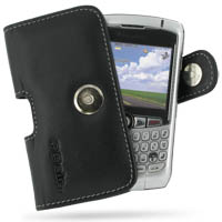 BlackBerry Curve 8300 (in Slim Cover) Holster Case (Black) PDair Premium Hadmade Genuine Leather Protective Case Sleeve Wallet