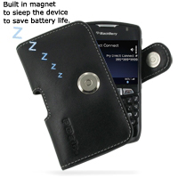 Leather Horizontal Pouch Case with Belt Clip for BlackBerry Curve 8350i (Black)