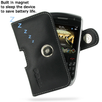 Leather Horizontal Pouch Case with Belt Clip for BlackBerry Curve 8900 Javelin (Black)