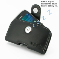 BlackBerry Curve 9320 Leather Holster Case (Black) PDair Premium Hadmade Genuine Leather Protective Case Sleeve Wallet