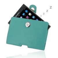 Leather Horizontal Pouch Case with Belt Clip for BlackBerry Passport (Aqua)