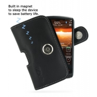Leather Horizontal Pouch Case with Belt Clip for BlackBerry Storm 2 9550 9520 (Black)