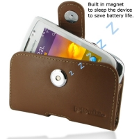 Leather Horizontal Pouch Case with Belt Clip for BlackBerry Torch 9810 (Brown)